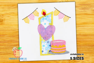 Birthday Cake for First Birthday Birthdays Embroidery Design By embroiderydesigns101