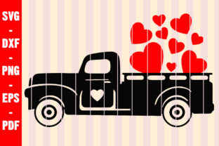 Print on Demand: Black Truck Red Heart Valentines Day SVG Graphic Crafts By creativeshohor