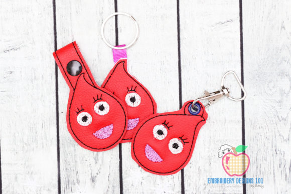 Blood Drop Cartoon Character Keyfob Trabajo y ocupación Diseños de bordado Por embroiderydesigns101