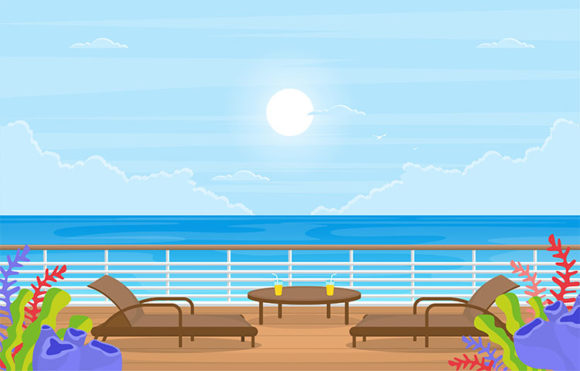 Blue Sea Ocean Landscape View on Cruise Graphic Illustrations By jongcreative