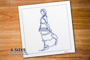 Bohemian Fashion Girl with Bag Redwork Boho Embroidery Design By Redwork101