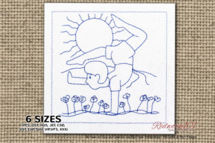 Boy Doing Yoga in Morning Time Redwork Teenagers Embroidery Design By Redwork101