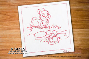 Bunny with Duck Design Farm Animals Embroidery Design By Redwork101 1
