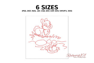 Bunny with Duck Design Farm Animals Embroidery Design By Redwork101 2