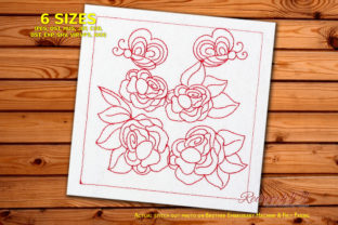 Butterflies Sitting on the Rose Flower Bugs & Insects Embroidery Design By Redwork101 1