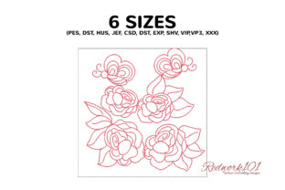 Butterflies Sitting on the Rose Flower Bugs & Insects Embroidery Design By Redwork101 2