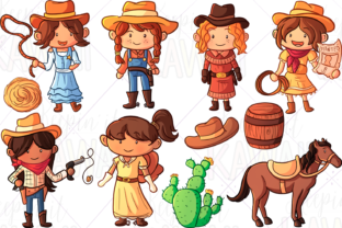 Print on Demand: Cowgirls Clip Art Graphic Illustrations By Keepinitkawaiidesign
