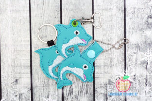Curved Dolphin ITH Snaptab Keyfob Marine Mammals Embroidery Design By embroiderydesigns101