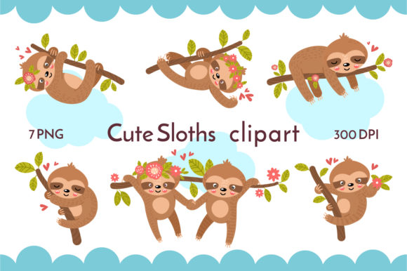 Cute Sloths Graphic Objects By KozaDereza
