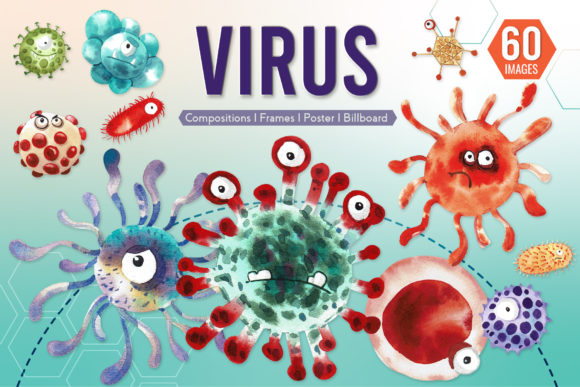 Cute Virus Cartoon Monster Character Graphic Illustrations By WatercolorEps
