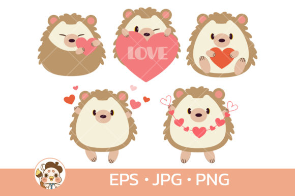Cute Hedgehog with Valentine's Day Graphic Illustrations By Guppic the duck