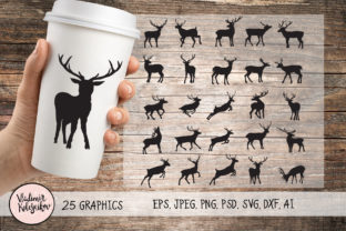 Deer Silhouette Set 25 Object. Graphic Logos By Kolesnikov