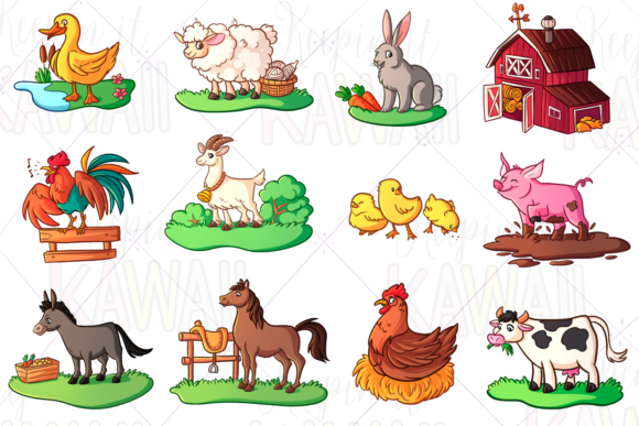 Print on Demand: Farm Animals Clip Art Graphic Illustrations By Keepinitkawaiidesign
