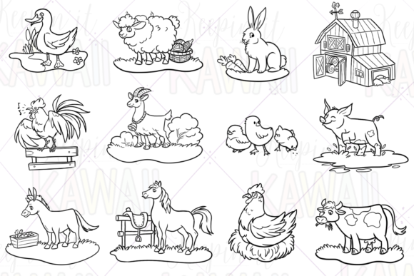 Print on Demand: Farm Animals Digital Stamps Graphic Illustrations By Keepinitkawaiidesign