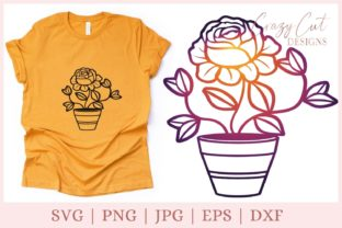 Flower Pot SVG, Flower SVG File Graphic Print Templates By CrazyCutDesigns