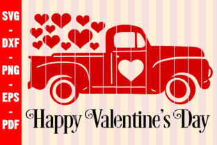 Print on Demand: Happy Valentine's Day Svg Red Truck Png Graphic Crafts By creativeshohor