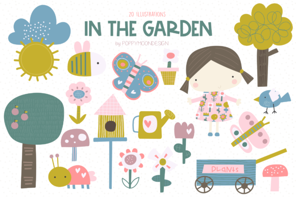 Print on Demand: In the Garden Clipart Set Graphic Illustrations By poppymoondesign