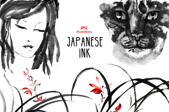 Japanese Ink Clipart Graphic Illustrations By NataliMyaStore