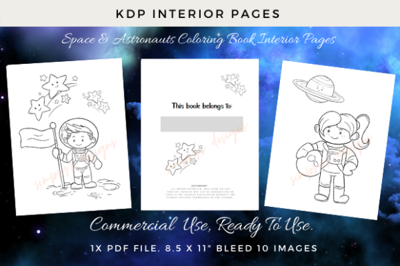 Print on Demand: KDP Coluring Pages with Astronauts Graphic KDP Interiors By Simpsys Designs