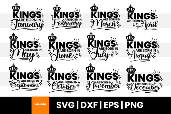 Print on Demand: Kings Are Born in, Birthday Month Bundle Graphic Print Templates By Maumo Designs