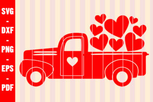 Print on Demand: Lots of Love Valentines Day Red Truck Graphic Crafts By creativeshohor