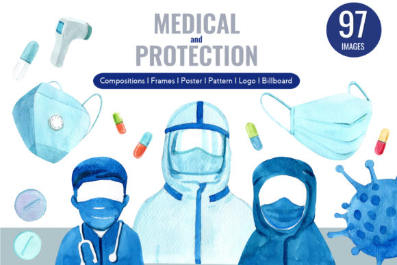 Medical and Protection Watercolor Graphic Illustrations By WatercolorEps