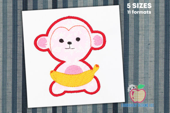 Monkey with Banana Applique Baby Animals Embroidery Design By embroiderydesigns101