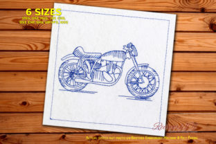 Motercycle BSA Goldstar Clubman Redwork Transportation Embroidery Design By Redwork101