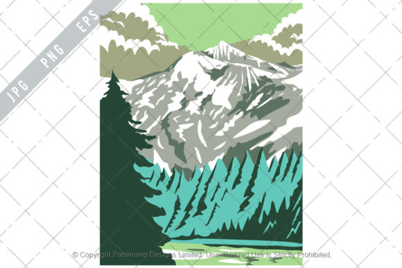 Print on Demand: North Cascades National Park WPA Poster Graphic Illustrations By patrimonio