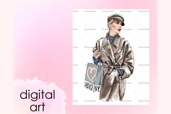 Print on Demand: Paris Style Girl Art, New York Fashion Graphic Illustrations By arctiumstudio