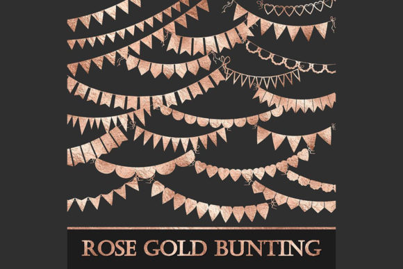 Rose Gold Bunting Banner Clipart Graphic Objects By ItGirlDigital