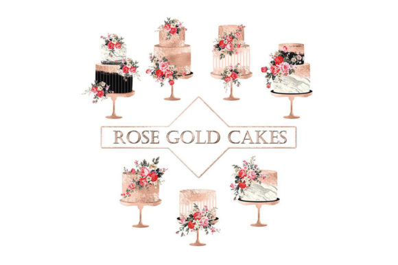 Rose Gold Cake Clipart Graphic Objects By ItGirlDigital