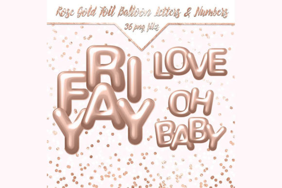Rose Gold Foil Balloon Letters & Numbers Graphic Objects By ItGirlDigital