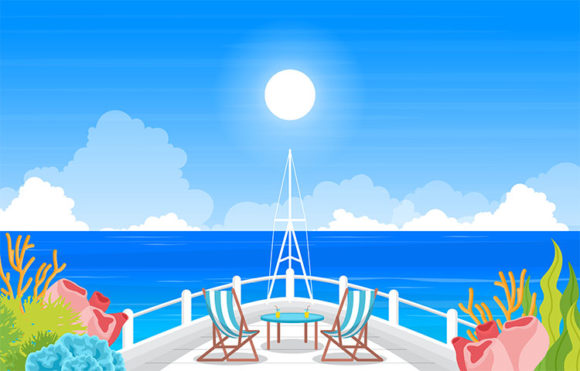 Sea Ocean Landscape View Table Chair Graphic Illustrations By jongcreative