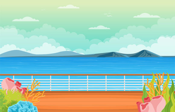 Sea Ocean Landscape View on Cruise Ship Graphic Illustrations By jongcreative