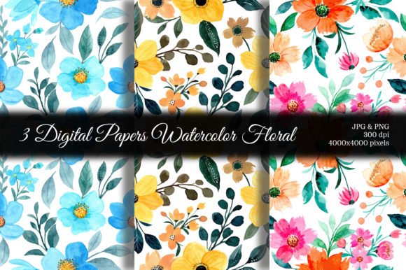 Print on Demand: Seamless Pattern Floral Watercolor 124 Graphic Patterns By asrulaqroni
