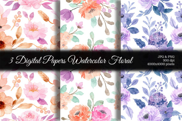 Print on Demand: Seamless Pattern Floral Watercolor 125 Graphic Patterns By asrulaqroni