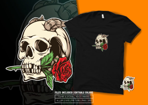Skull and Rose Illustration Graphic Print Templates By bagusjulianto