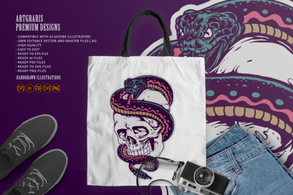 Print on Demand: Snake Wrapped Around the Skull Clipart Graphic Illustrations By artgrarisstudio