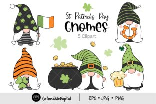 St Patrick Day Gnomes Clipart. Graphic Illustrations By CatAndMe