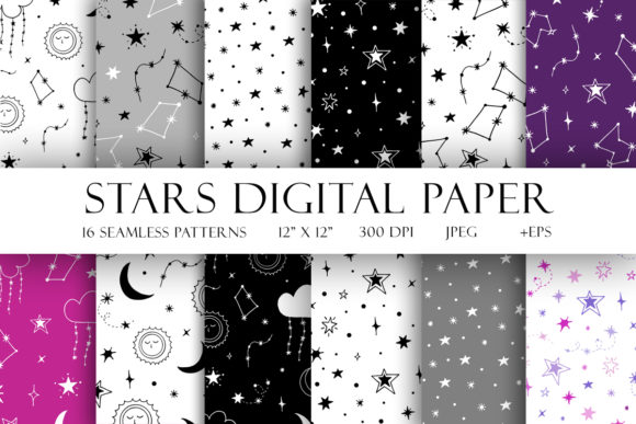 Print on Demand: Stars Digital Paper Graphic Illustrations By TanyaPrintDesign