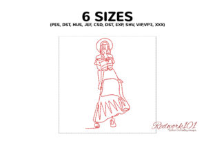 Stylish Bohemian Women in Skirt Suit Boho Embroidery Design By Redwork101 2
