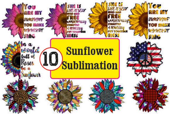 Sunflower Sublimation Bundle Graphic Print Templates By DenizDesign