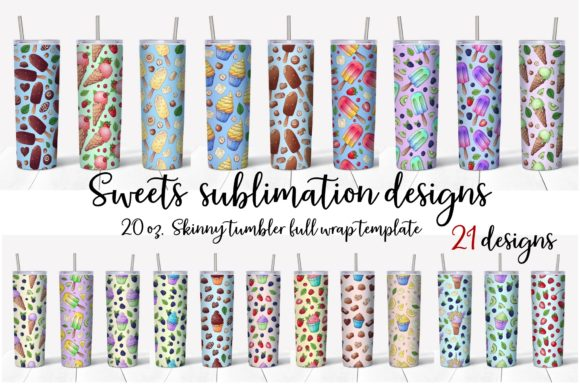 Print on Demand: Sweets Sublimation Design. Skinny Tumble Graphic Crafts By nicjulia