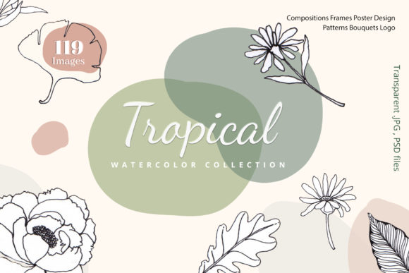 Tropical Vibes Line Art Unique Graphic Illustrations By WatercolorEps