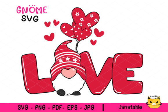 Valentine LOVE with Gnome SVG Clipart Graphic Crafts By Janatshie