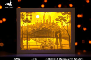 Valentine Paper Cut Light Box Template Graphic 3D Shadow Box By Deer store