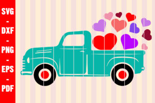 Print on Demand: Valentine Truck SVG Colourful Hearts SVG Graphic Crafts By creativeshohor