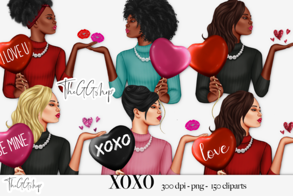 Print on Demand: Valentine's Day Girl Clipart Set Graphic Illustrations By TheGGShop