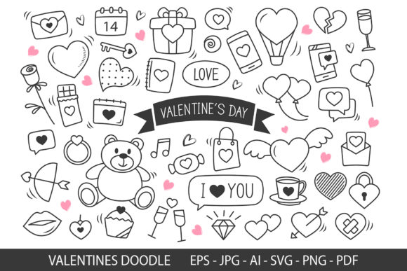 Valentine's Day Hand Drawn Doodles. Graphic Crafts By khanisorn